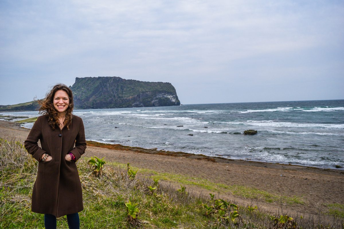 the weather in Jeju was no very warm so I needed a coat, especially if there was a sea breeze