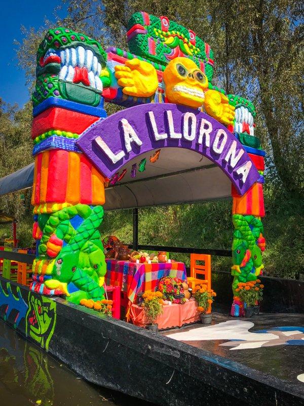 colorful boat in xochimilco
