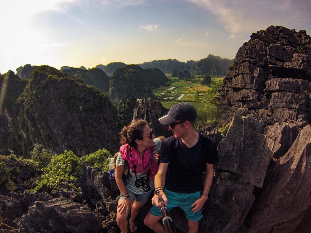hiking to the top of the mountain in tam coc vietnam