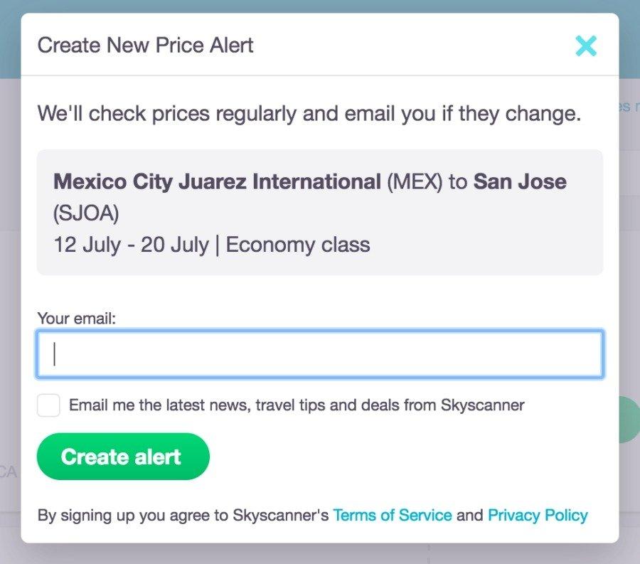 skyscanner price alerts