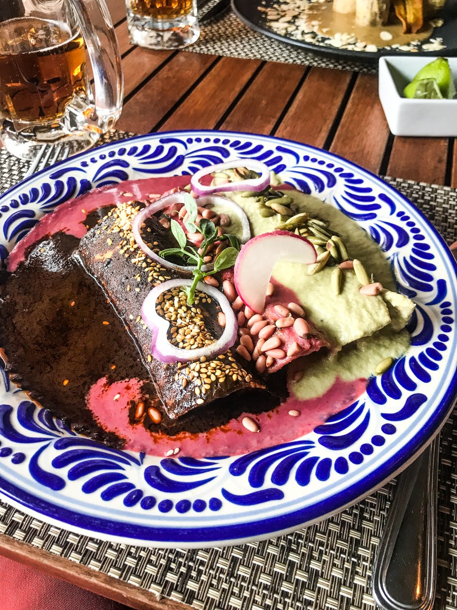 the best food in Puebla is the mole at Anafre Rojo