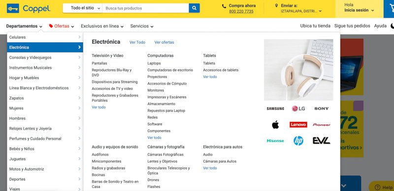shopping online in Mexico with coppel