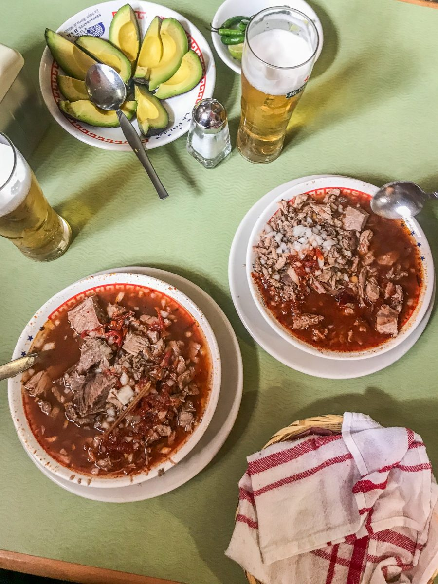 the bowls of birria at La Polar in MEexico ciyt