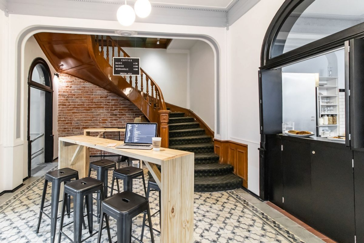 inside of coffice in Roma Norte, a popular coworking space in Mexico City