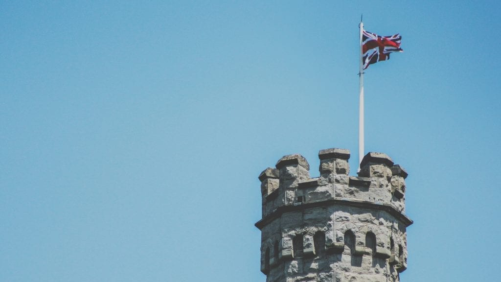 tower of london with union jack on top