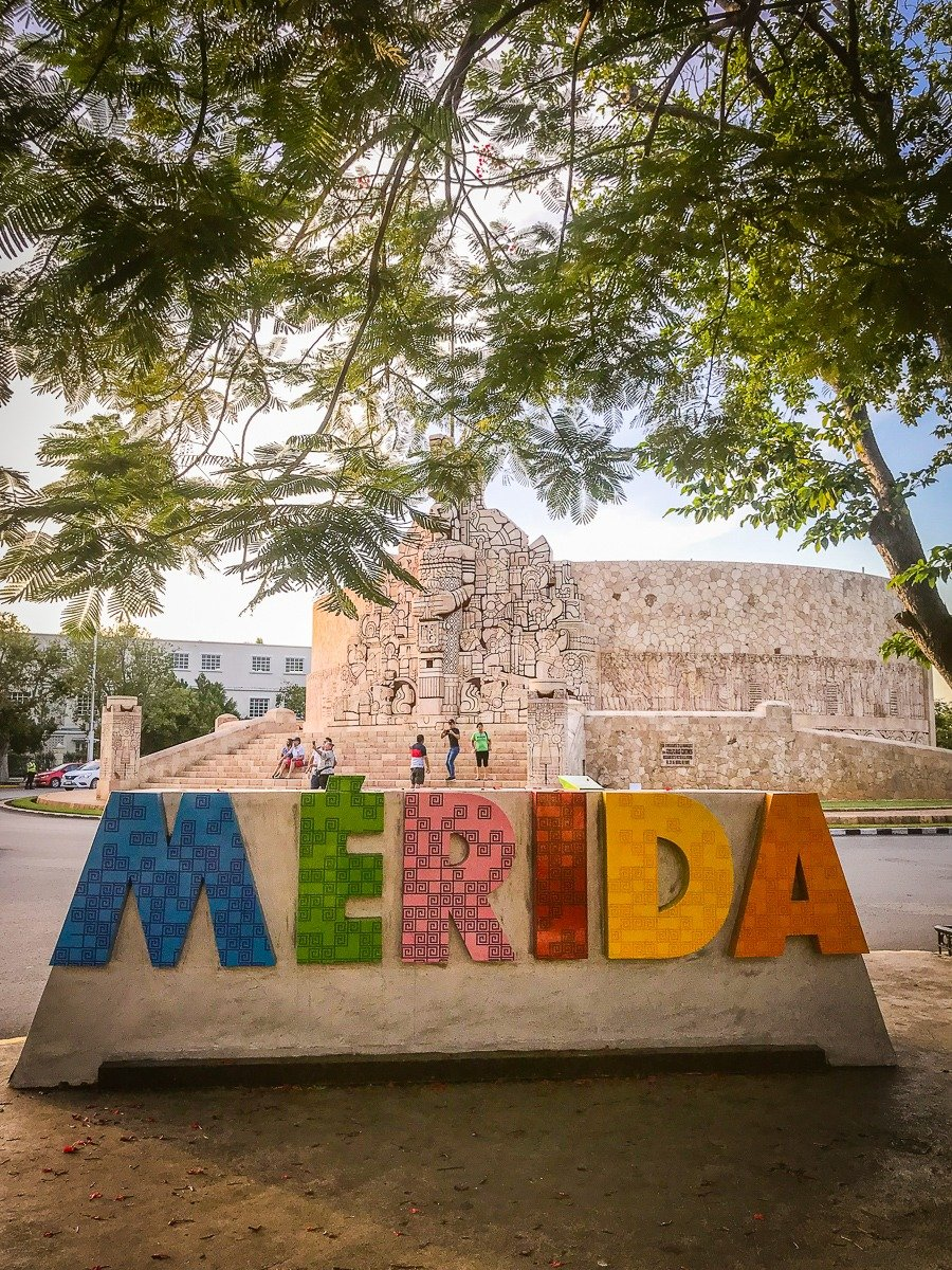 the merida sign on paseo de montejo