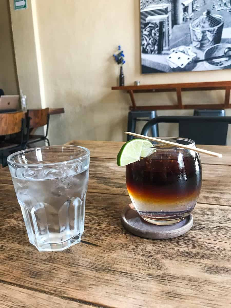 cold brew coffee with tonic water and lim