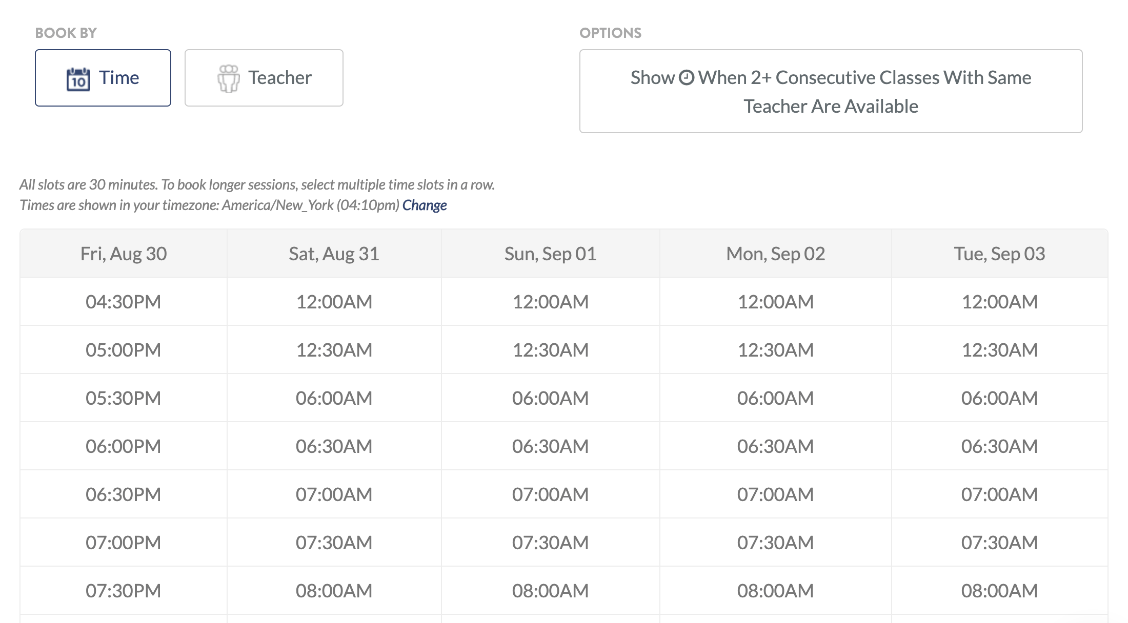 the signup schedule for teachers on Baselang