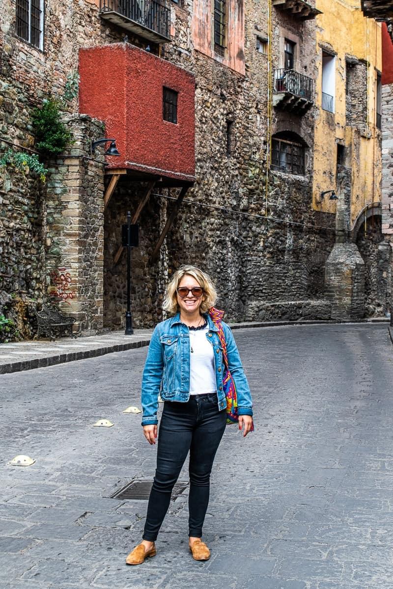 standing in the underground road in Guanajuato Mexico