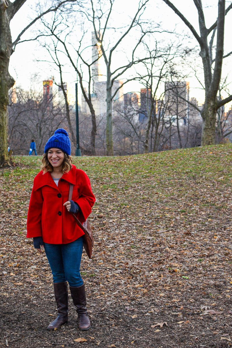 standing in central park in winter