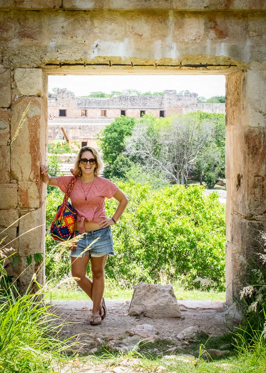 standing in the ruins at uxmal