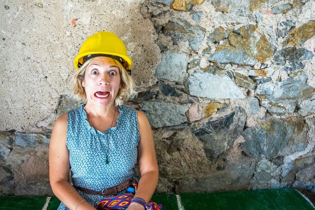 posing in a miners hat in Guanajuato