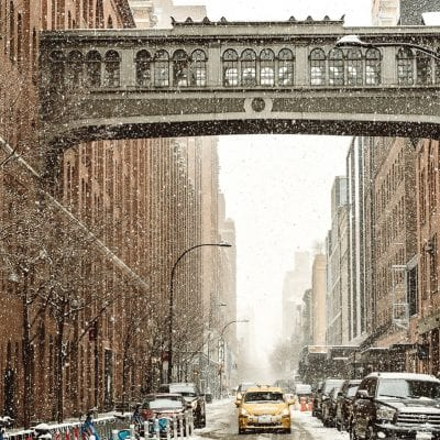 snowy streets of new york city
