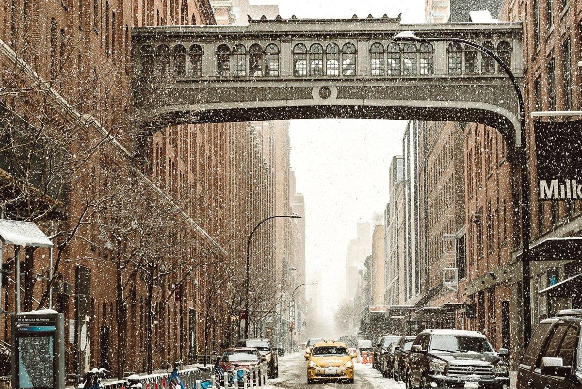 snowy streets of new york city