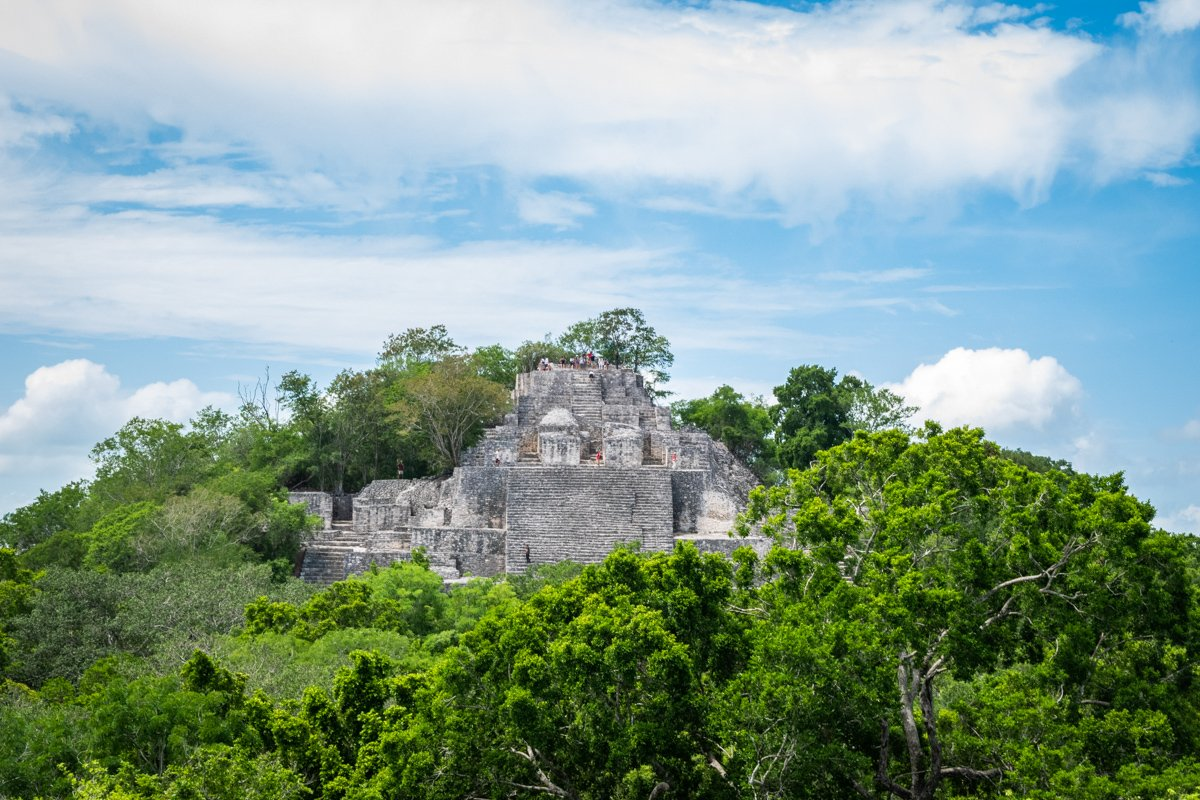 Calakmul ruins from a distance surrounded by jungle