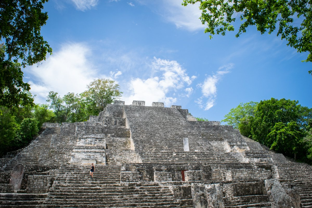 one of the temples inside Calakmul in the state of Campeche Mexico