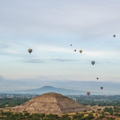 hot air ballooning over teotihuacan in mexico city