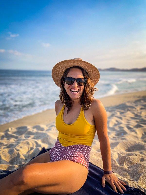 enjoying sun and sand at the beach