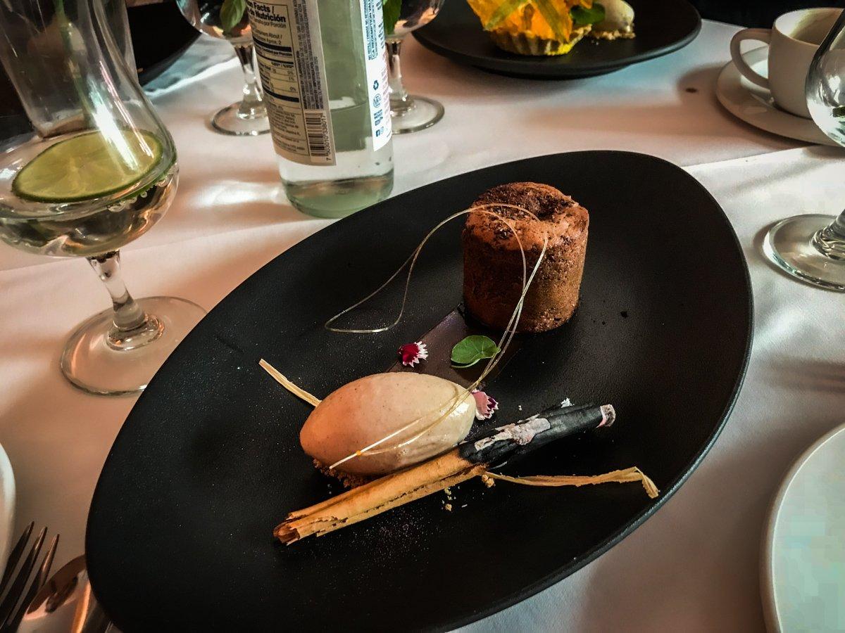 chocolate cake and cinnamon ice cream from dulce patria