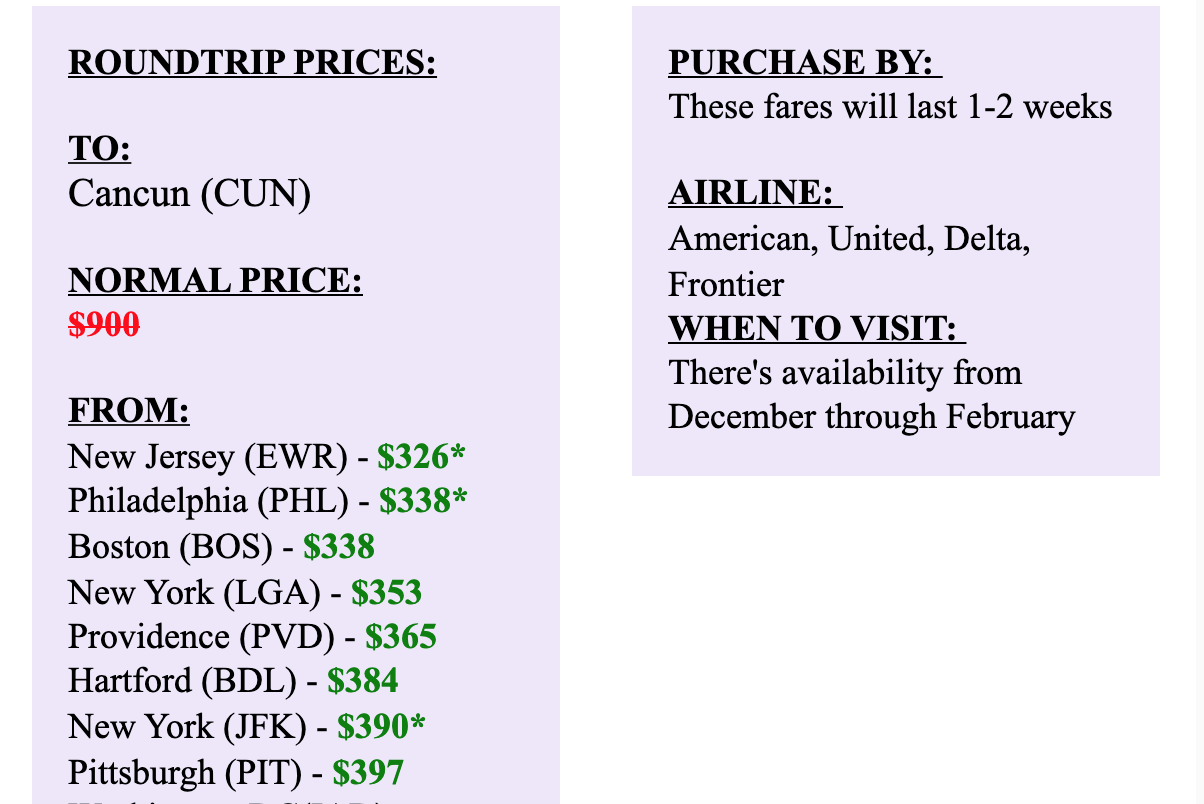 matt's flights alert email with flight prices from the north east to Cancun