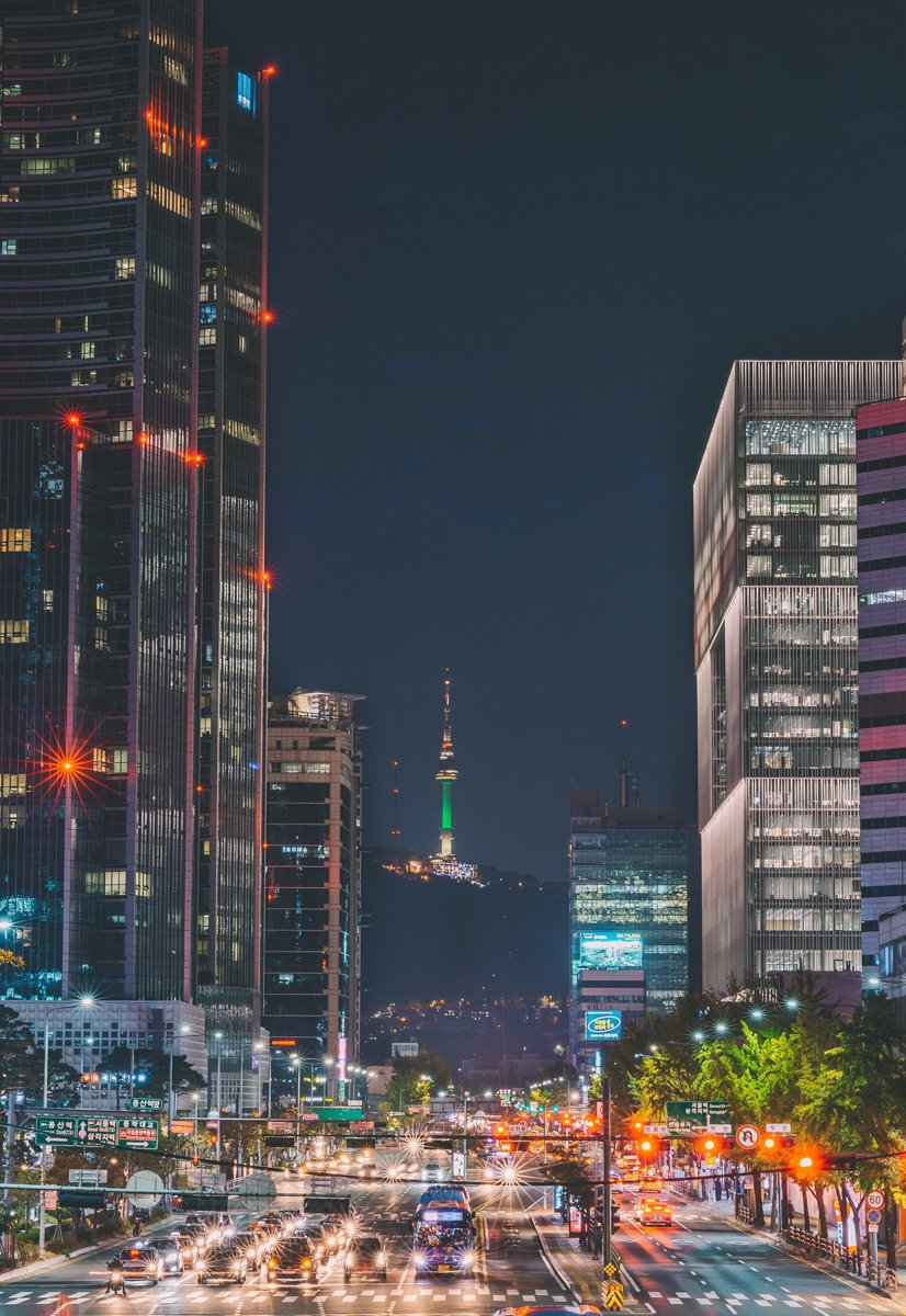 seoul after dark with a view of seoul tower