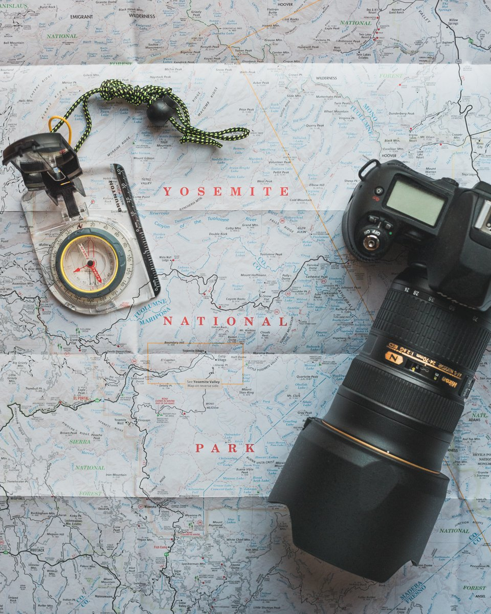 camera on a map with a compass