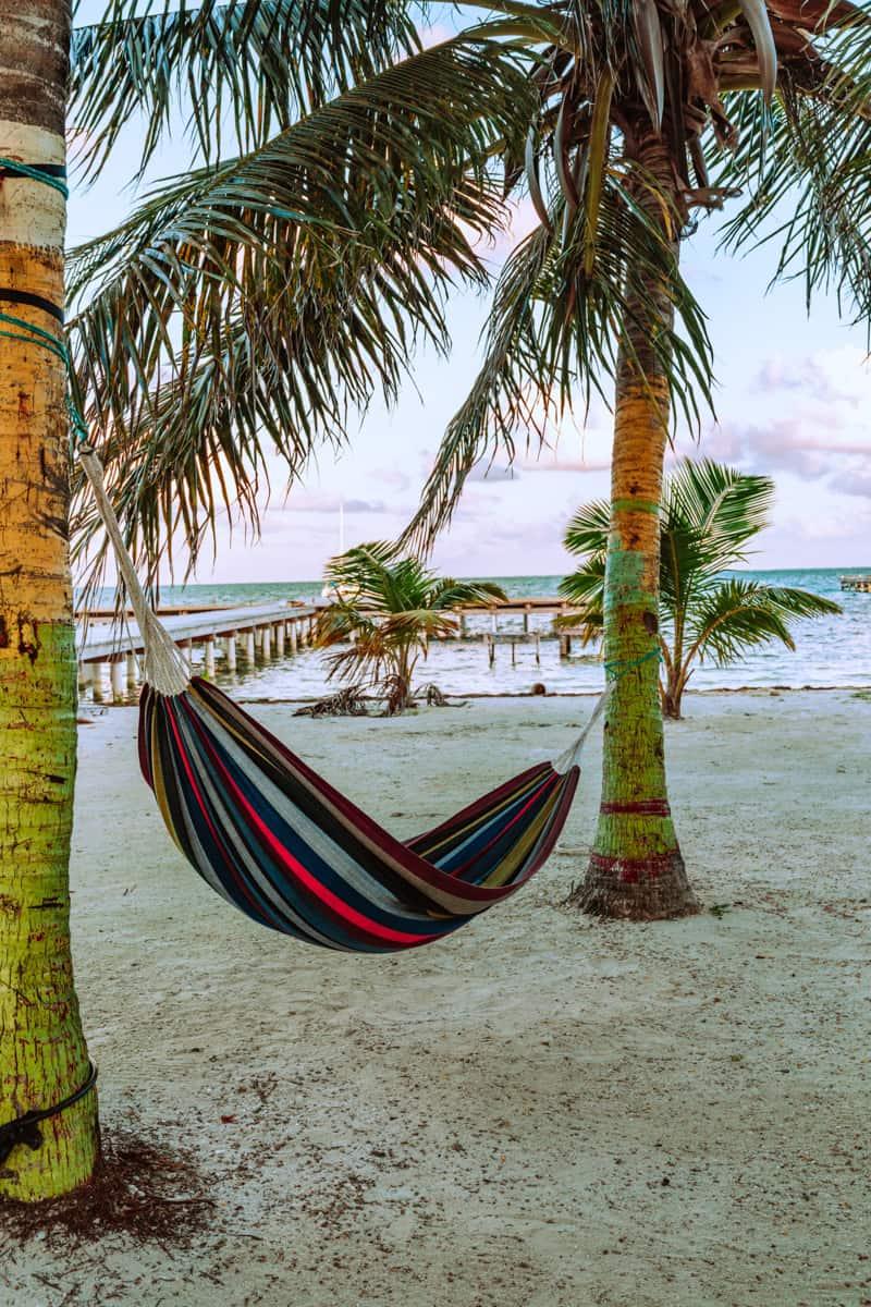 laying in hammocks on the beach