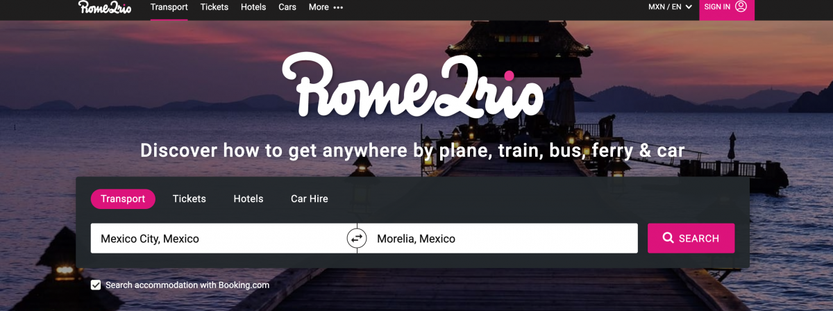 using rome2rio to book buses in mexico