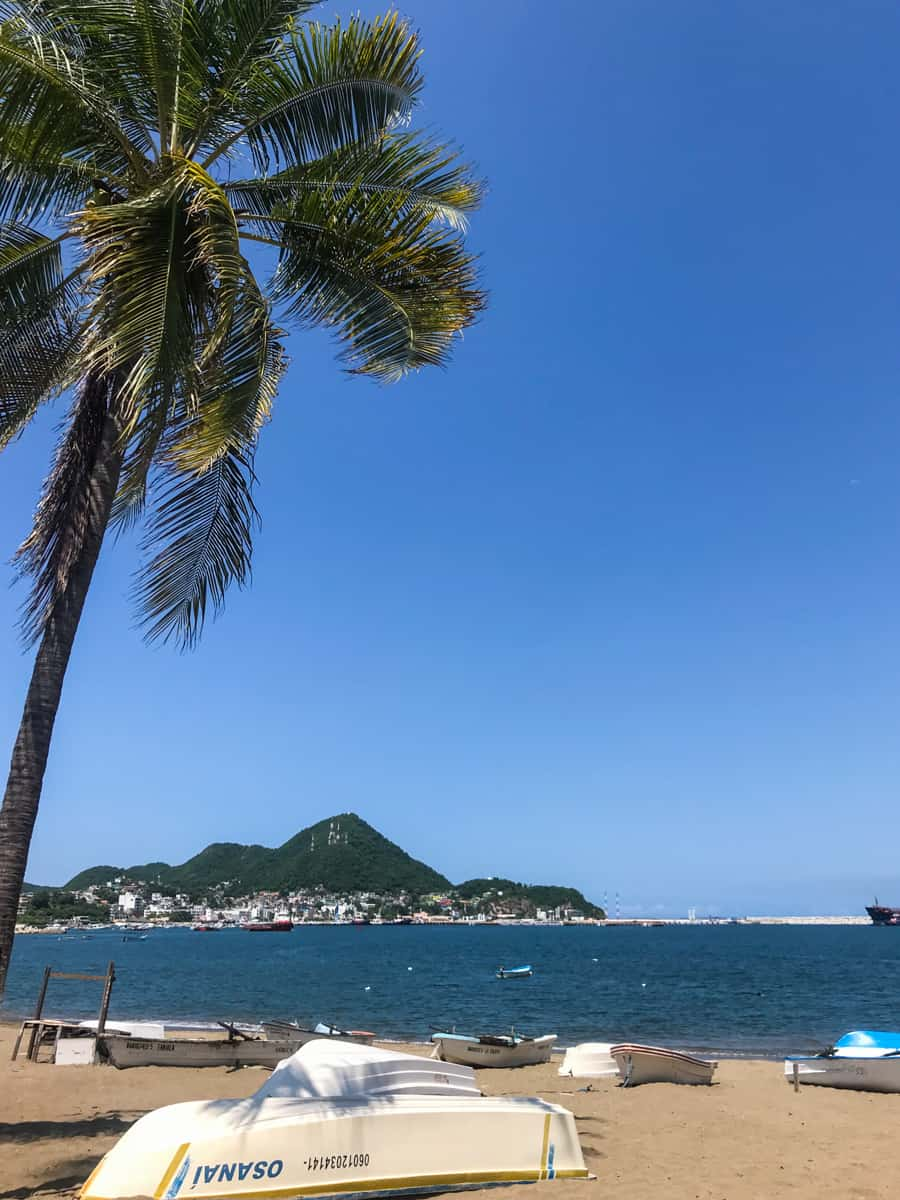beaches, boats and palm trees in Manzanillo