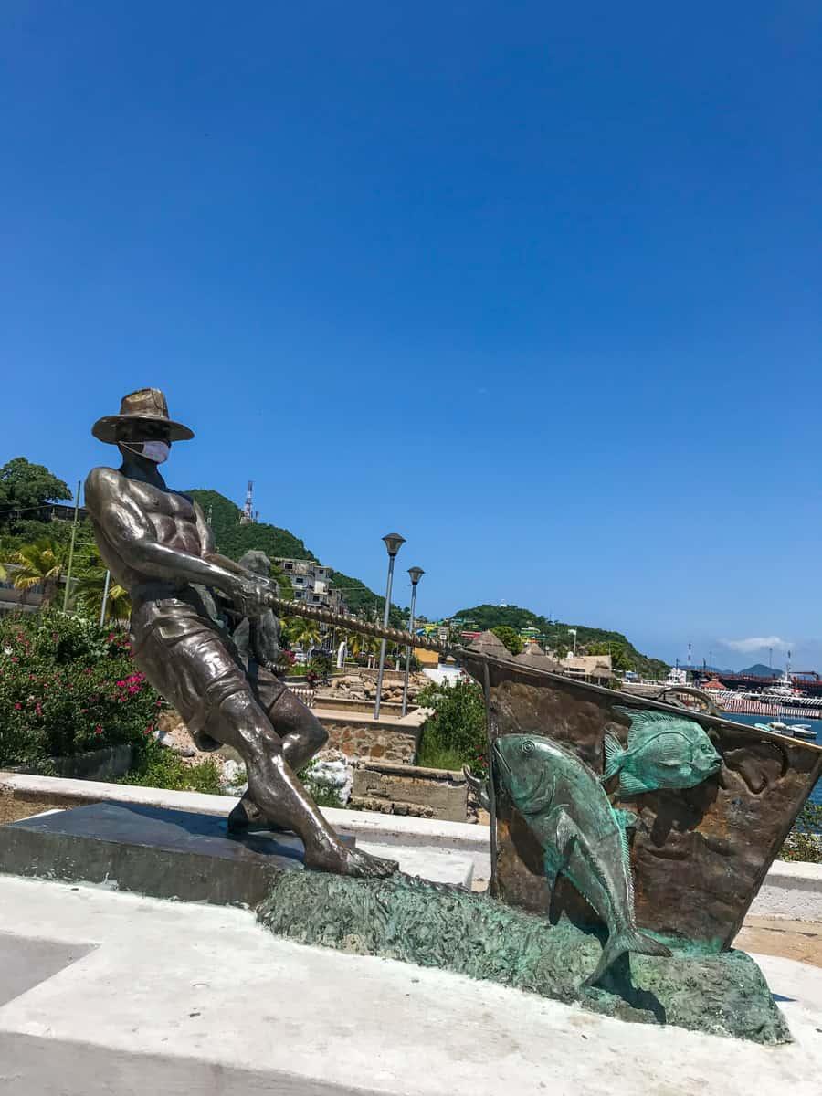 statues along the malecon in Manzanillo