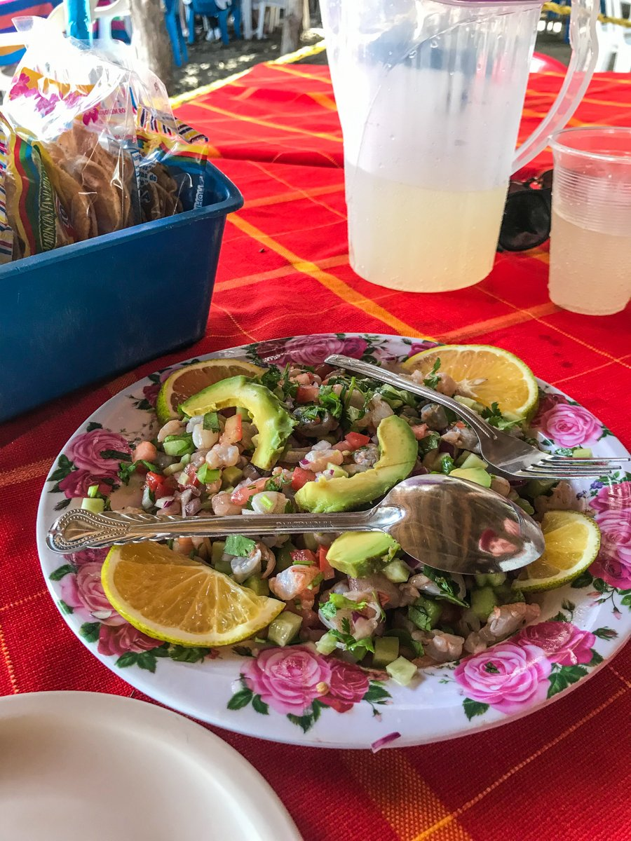 delicious ceviche on the beach