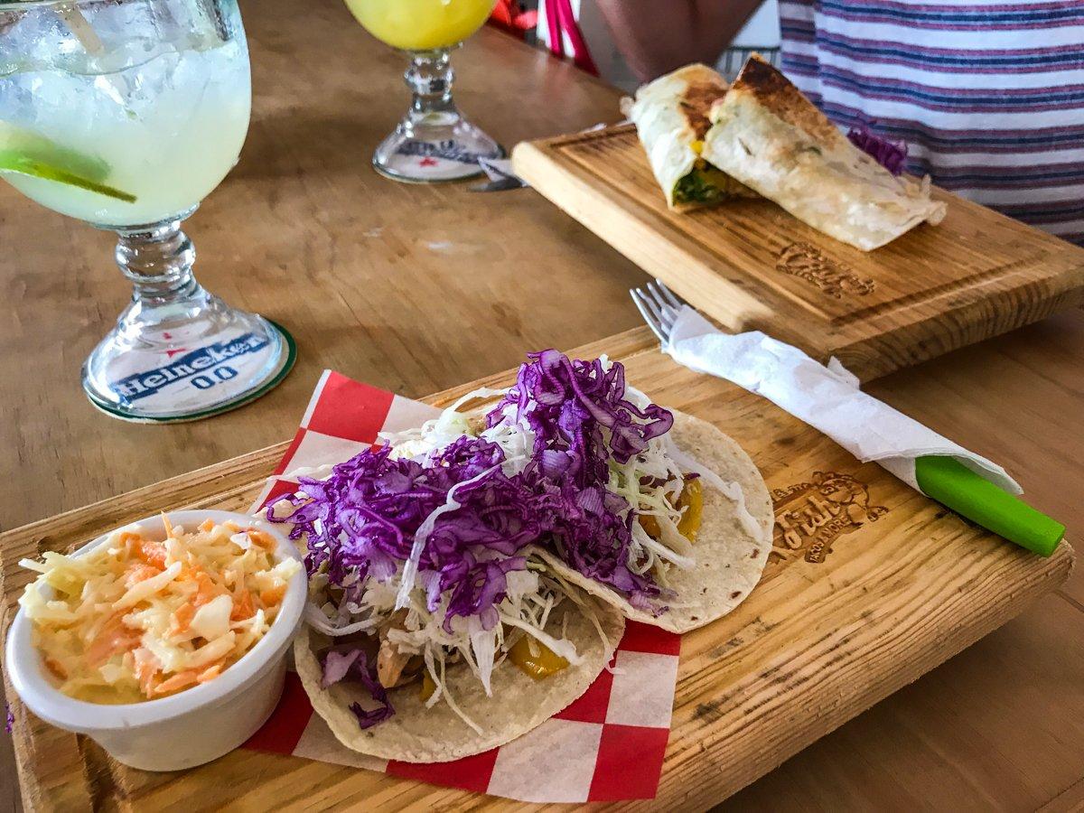 fish tacos at a restaurant in Manzanillo