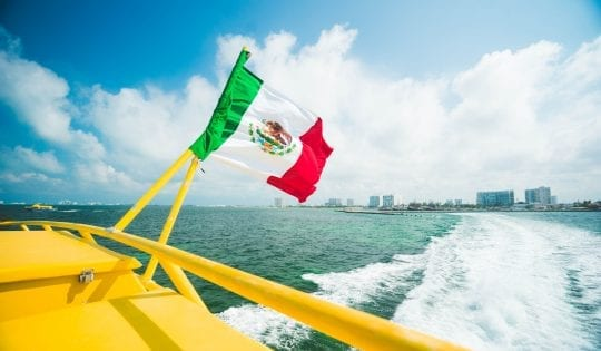 on a boat in the riviera maya mexico