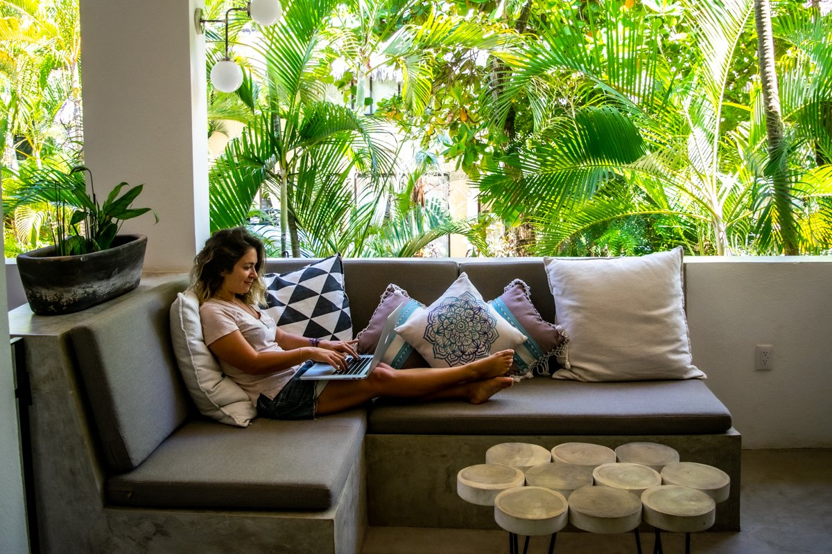lounging in my Sayulita Airbnb