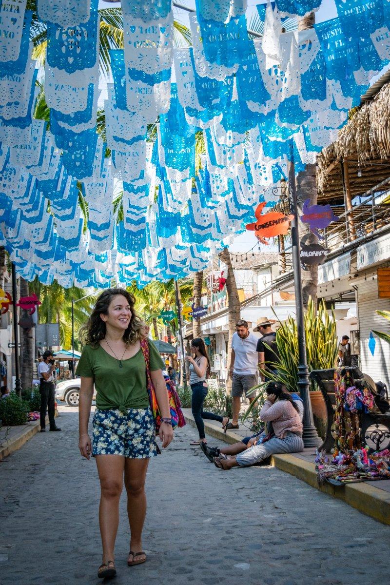 The popular Instagram flag street in Sayulita