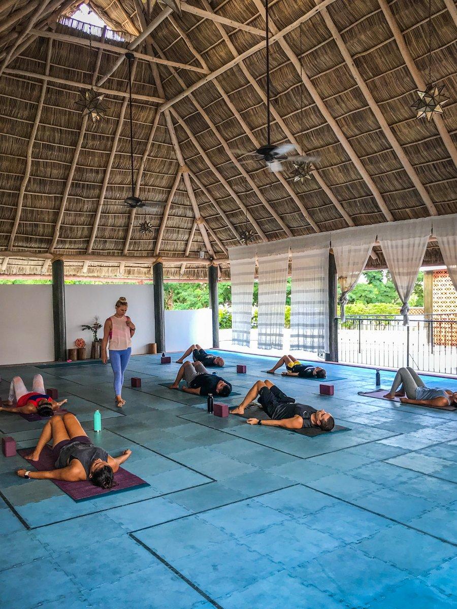Doing yoga in one of the Sayulita hotels