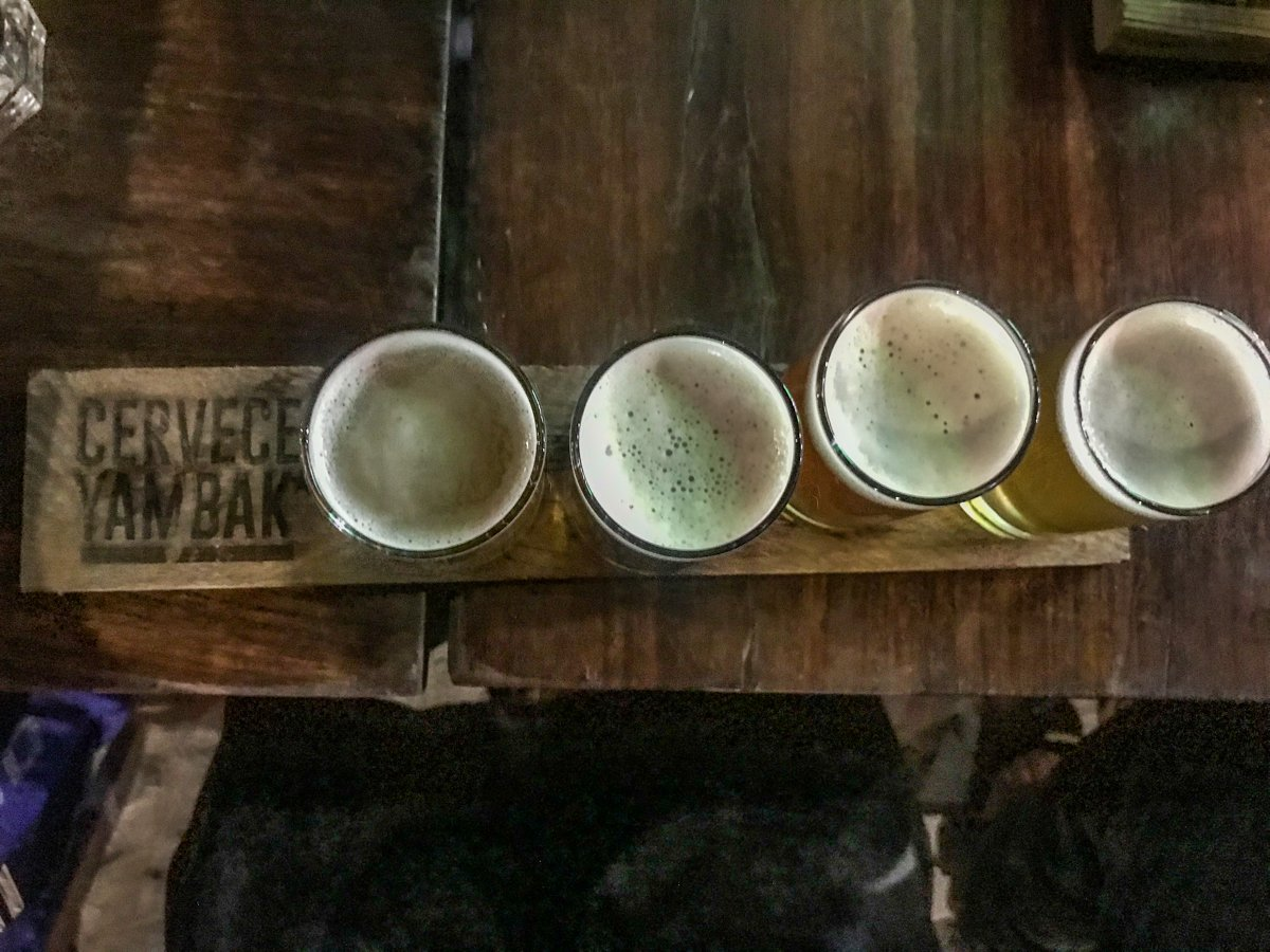flight of beers from cerveceria yambak