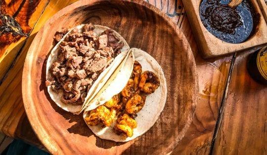 steak and shrimp tacos from el itacate in sayulita