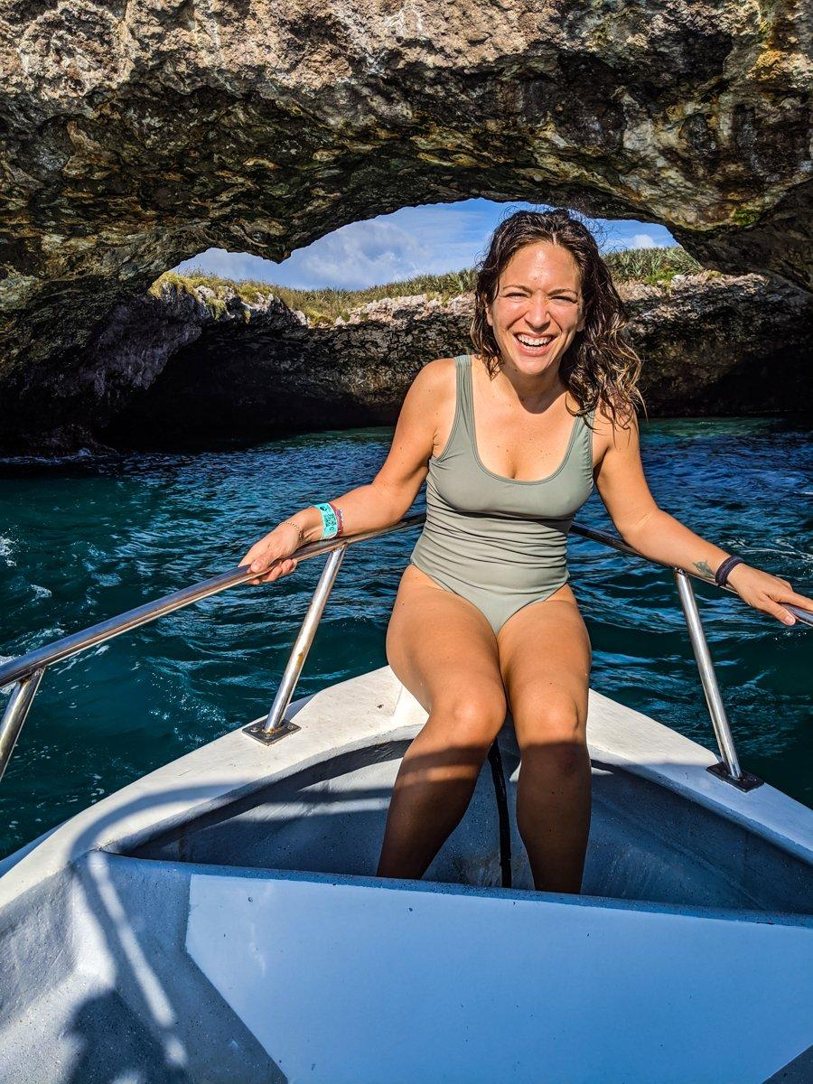 on a boat in islas marietas