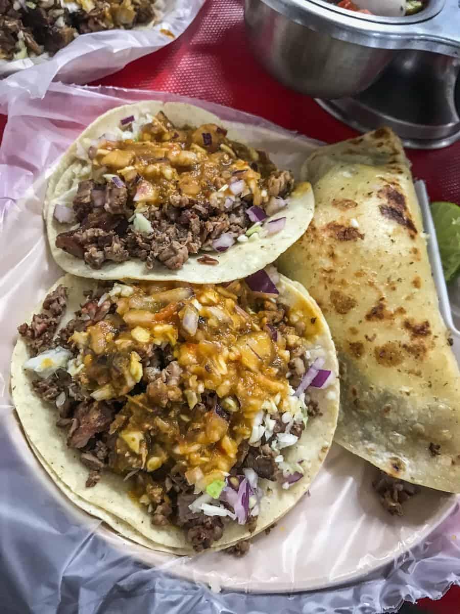 carne asada tacos and a quesadilla