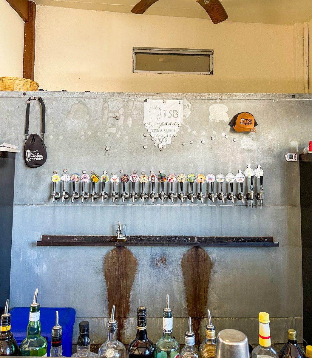 all of the taps at Todos Santos Brewing