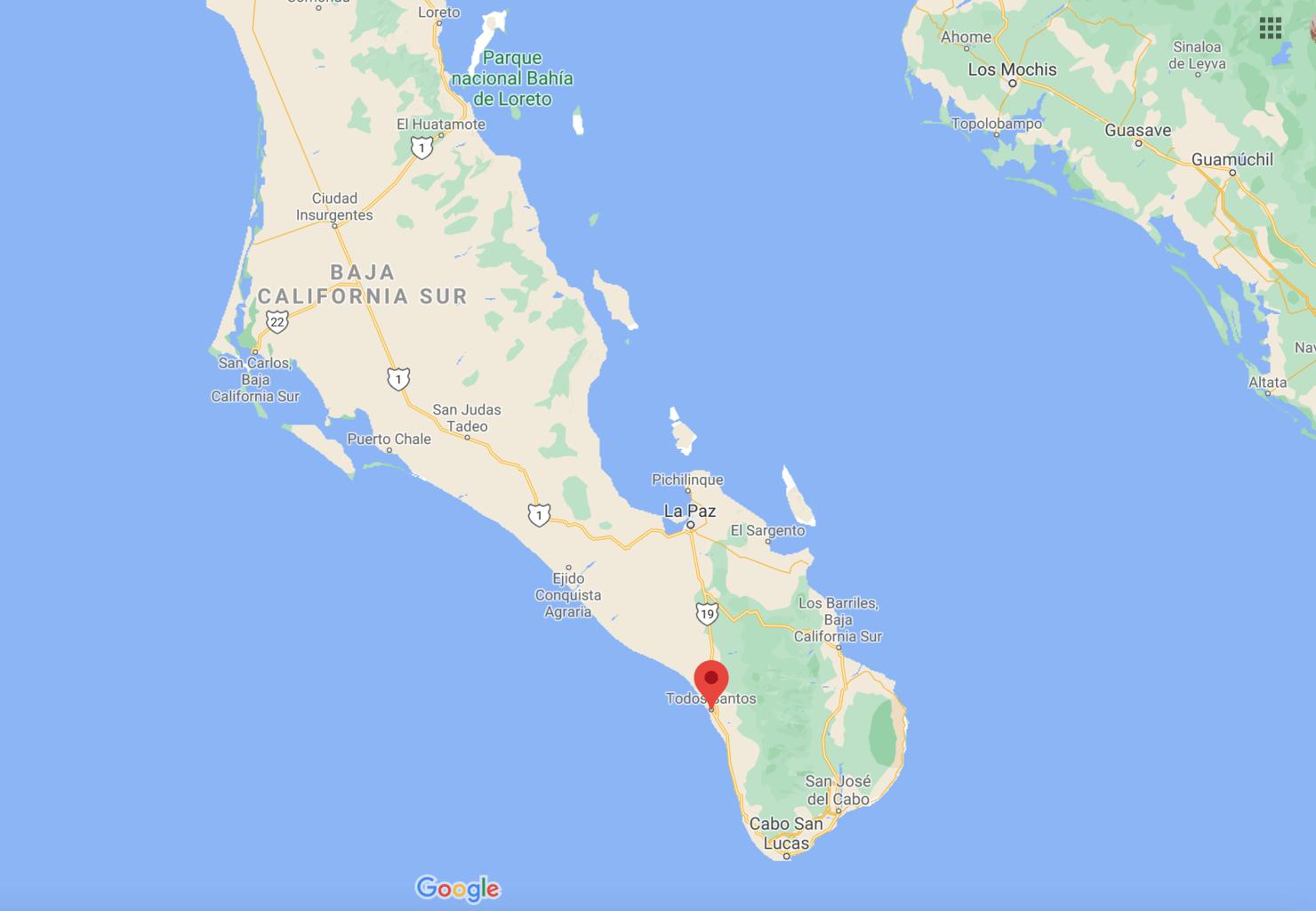 map of todos santos mexico