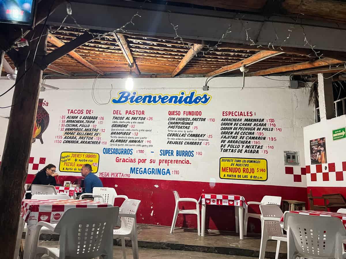 the menu at El Fogon in san jose del cabo