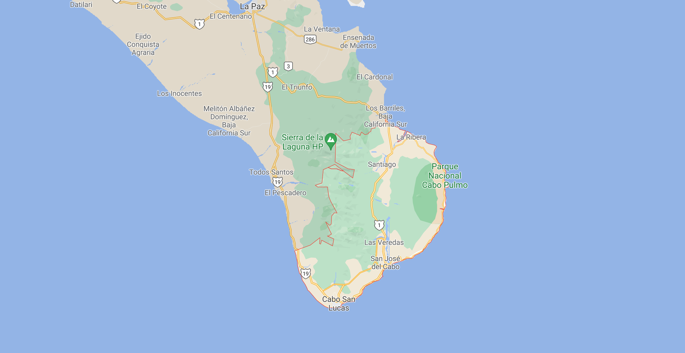 los cabos zoomed in on a map