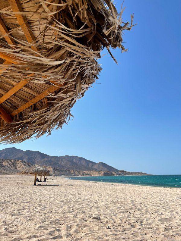 finding shade at the beach in La Ventana