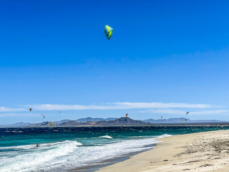 kite surfers out on the water