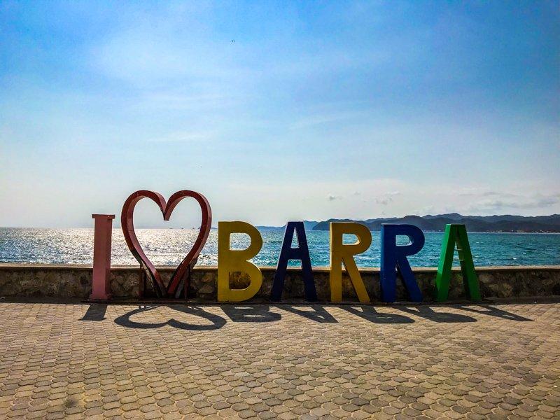 An I heart Barra sign in Barra de Navidad Mexico