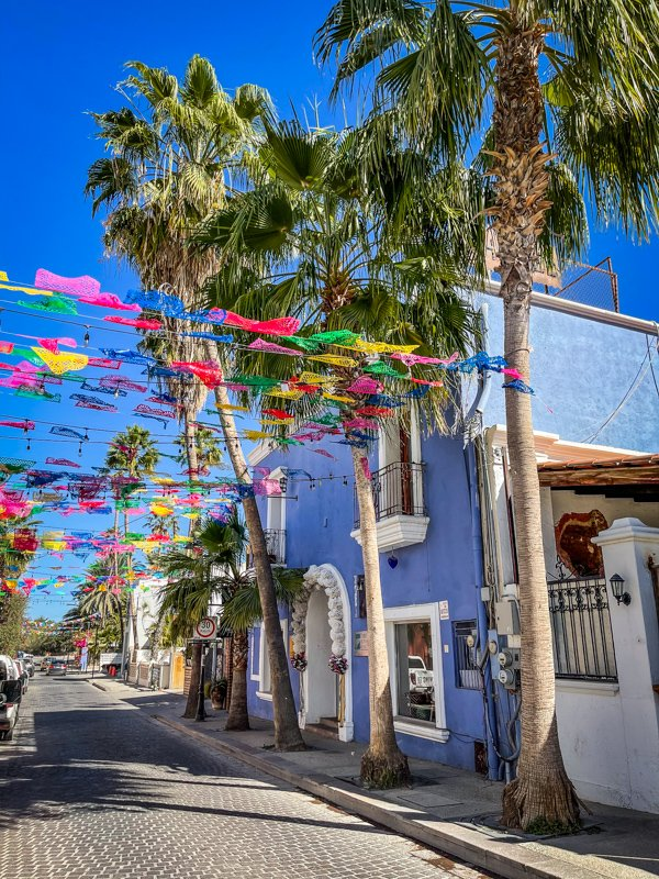 colorful building and flags in san jose del cabo