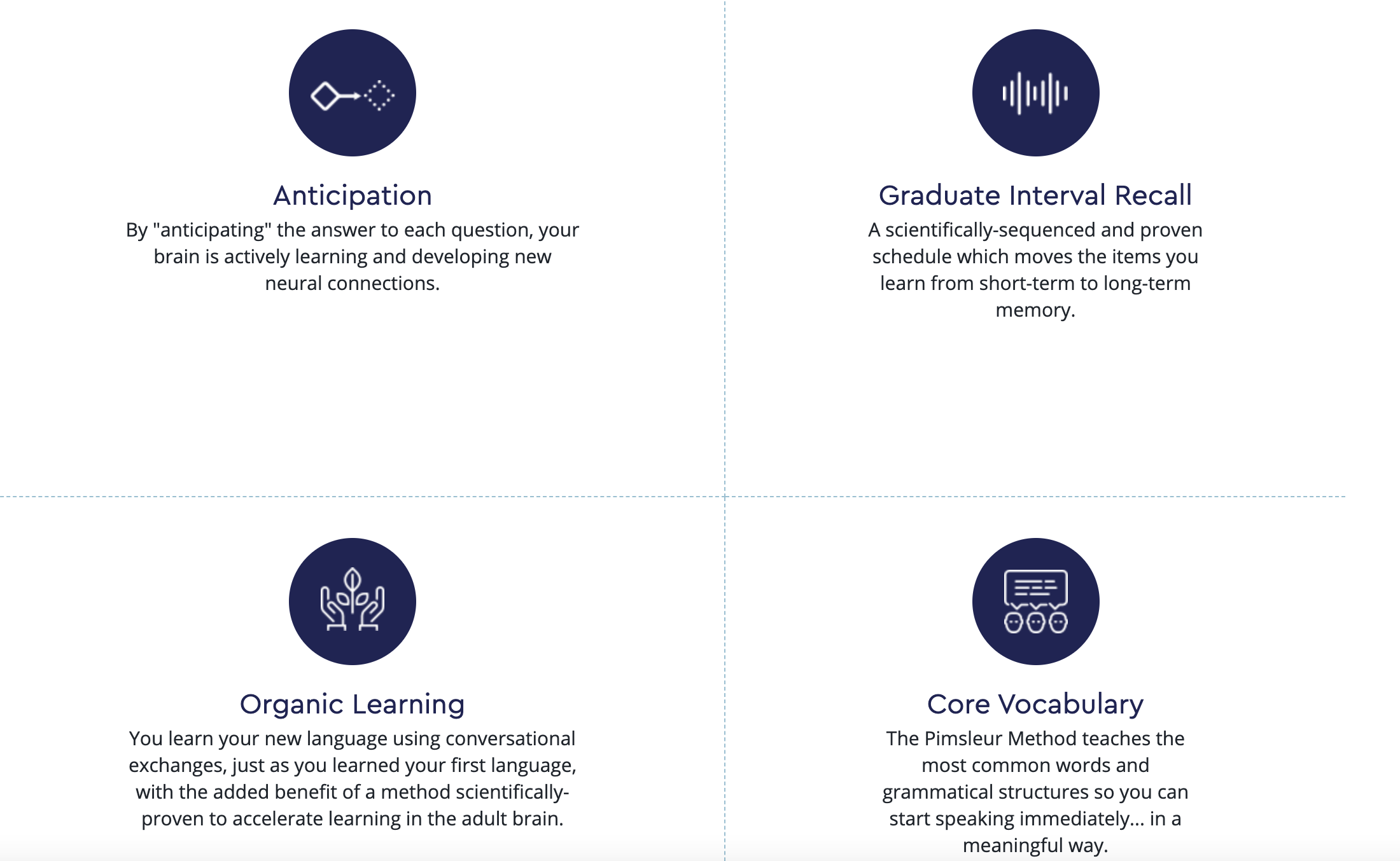 the four core values of the pimsleur language program