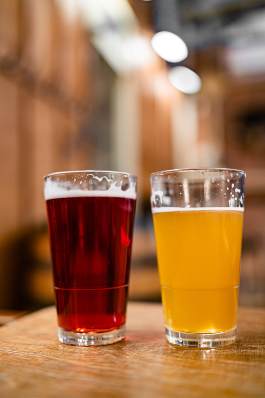 craft beer in two glasses on a wooden table